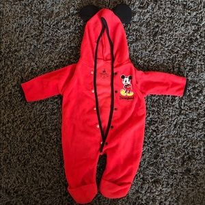 Fleece Mickey Mouse onesie.